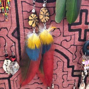 Peru Ayahuasca Feather Earrings